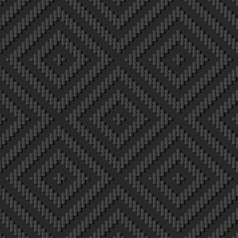 Dark paper art curve cross line check square, vector stylish decoration pattern background