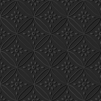 Dark paper art curve cross round flower, vector stylish decoration pattern background