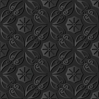 Dark paper art curve spiral cross vine flower, vector stylish decoration pattern background
