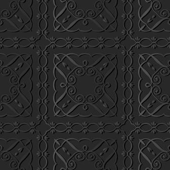 Dark paper art curve spiral square cross frame vine line