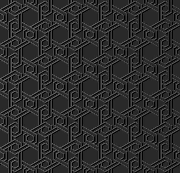 ダークペーパーアートイスラム幾何学クロスパターンシームレス背景