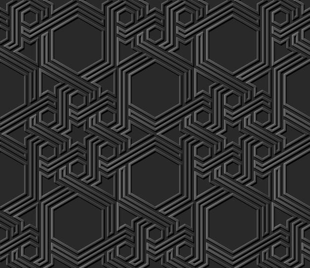 Dark paper art islamic geometry cross pattern seamless background