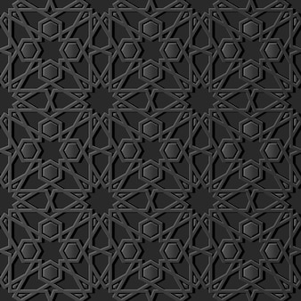Dark paper art islamic geometry cross pattern seamless background