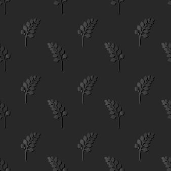 Dark paper art nature garden plant leaf, vector stylish decoration pattern background