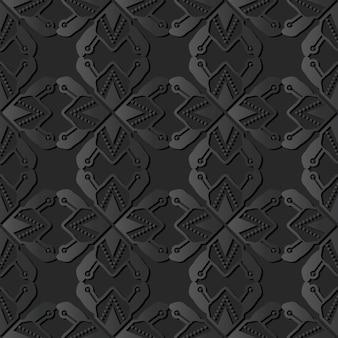 어두운 종이 예술 다각형 스타 기하학 크로스 도트 라인, 벡터 세련된 장식 패턴 배경