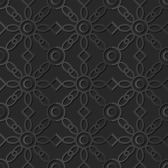 Dark paper art round cross check flower, vector stylish decoration pattern background Premium Vector