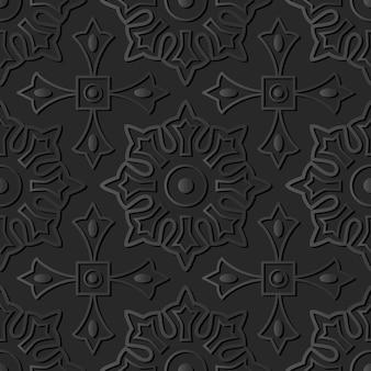 Dark paper art round cross square geometry flower, vector stylish decoration pattern background