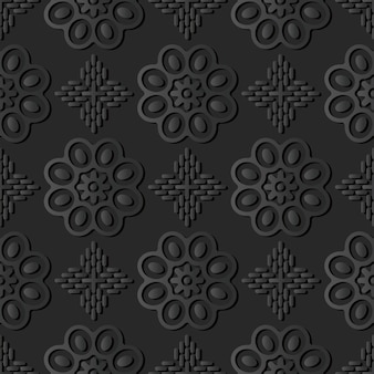 Dark paper art round curve cross flower, vector stylish decoration pattern background