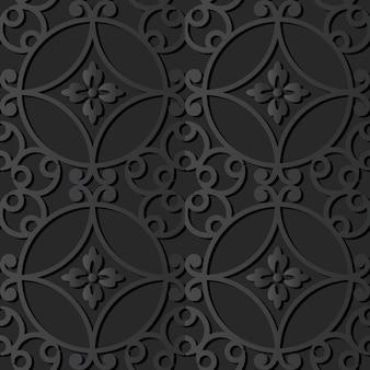 Dark paper art round curve spiral flower, vector stylish decoration pattern background