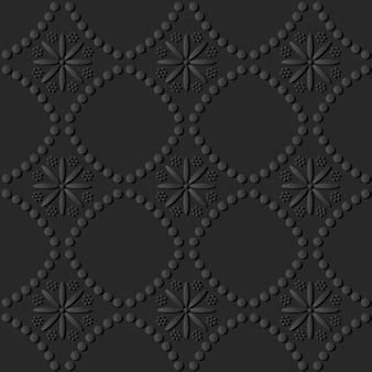 Dark paper art round dot line cross flower, vector stylish decoration pattern background