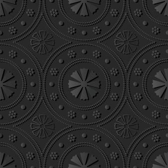 Dark paper art round dot line flower, vector stylish decoration pattern background
