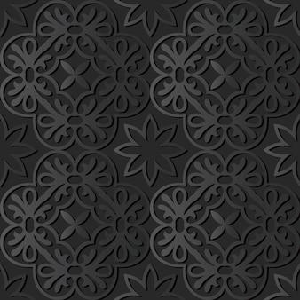 Dark paper art round spiral cross flower, vector stylish decoration pattern background