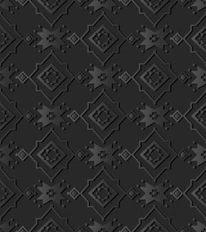 Dark paper art star cross check flower, vector stylish decoration pattern background