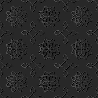 Dark paper art star curve cross flower, vector stylish decoration pattern background