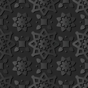 Dark paper art star round cross flower, vector stylish decoration pattern background