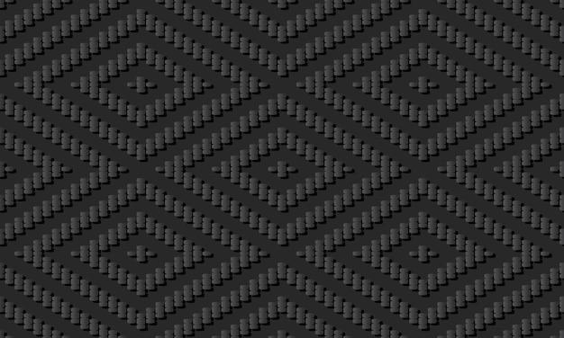 Dark paper art stitch cross square check diamond line, vector stylish decoration pattern background