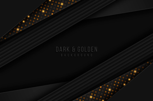 Dark paper layers background with gold details