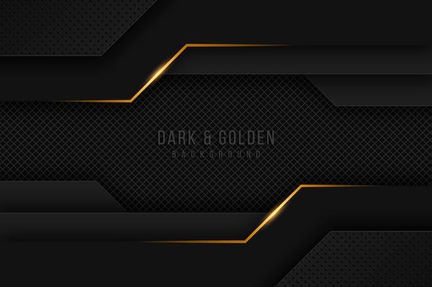 ゴールドのディテールを備えたダークペーパーレイヤーの壁紙