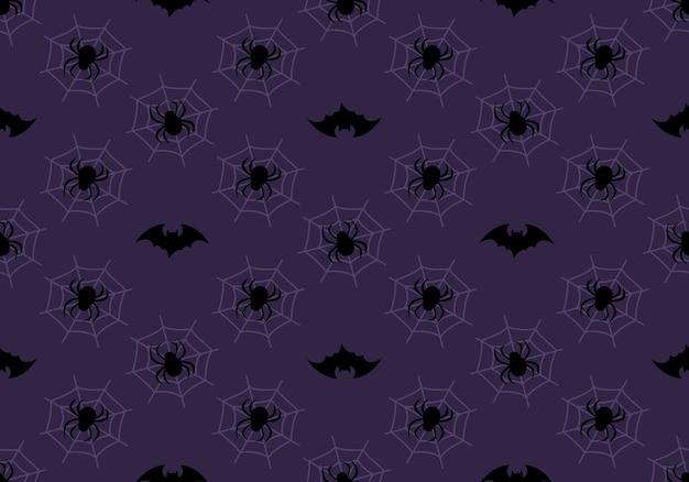 보라색 배경 할로윈 축제 가을 장식에 검은 박쥐 거미와 웹 어두운 패턴...