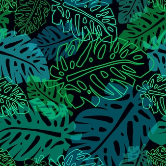 Dark pattern with neon palm leaves, vector seamless tropical pttern