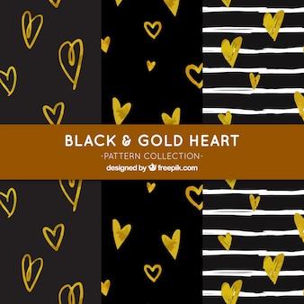 Dark patterns with golden hearts