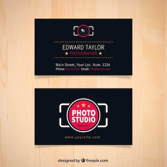 Dark photography studio business card