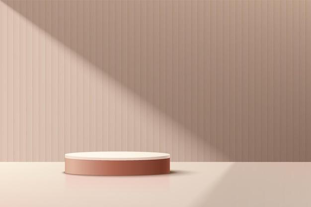 ミニマルなスタイルのダークピンクのシリンダープラットフォーム表彰台。窓の照明。ベージュ色の抽象的な壁のシーン。影付きの幾何学的な台座。製品ディスプレイプレゼンテーション用のベクトルレンダリング3d形状。