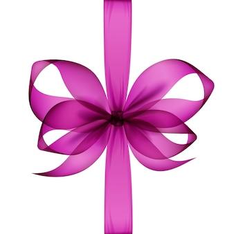 Темно-розовый пурпурный фиолетовый прозрачный лук и ленты вид сверху крупным планом изолированы.
