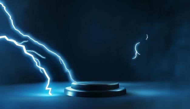 Dark podium scene with glowing lightning strike
