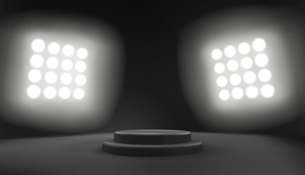 경기장 스포트라이트와 함께 어두운 연단 장면
