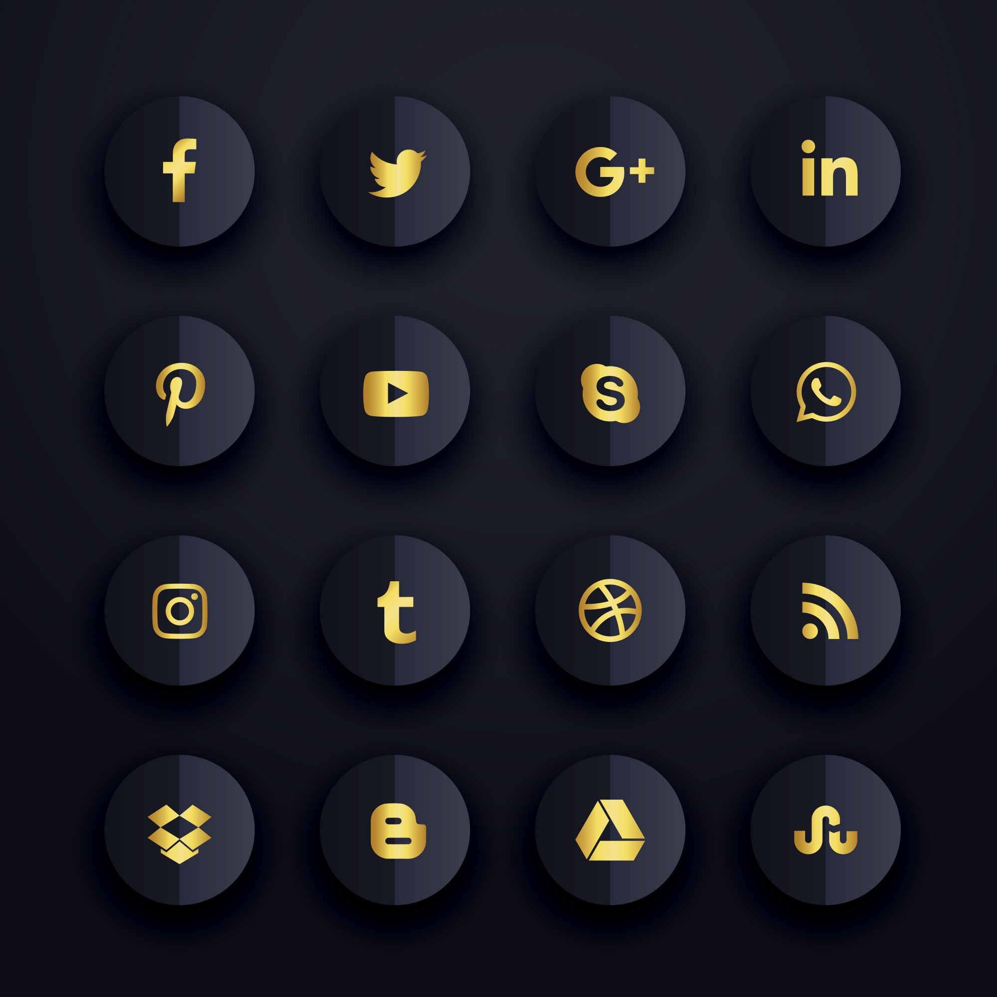 Dark premium social media icons set