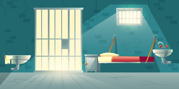 Dark prison cell interior cartoon