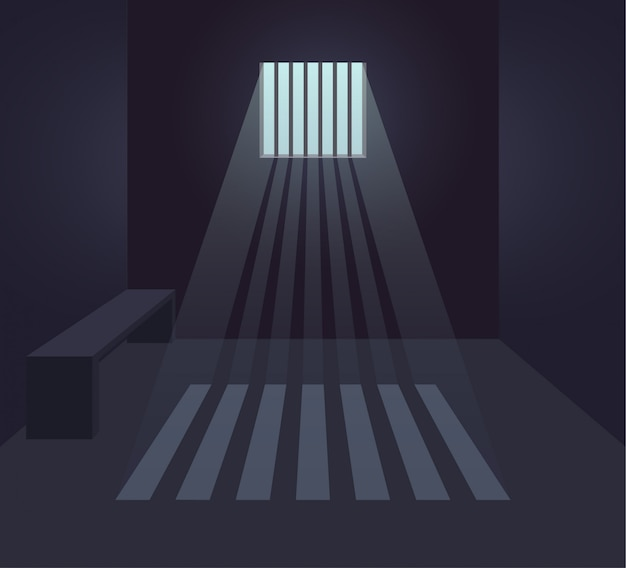 Dark prison cell interior. prison room. small window with sunbeams. flat  illustration.