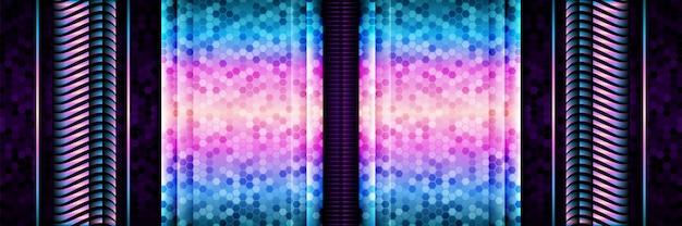 グラデーションサークルキラキラ背景を持つダークパープルの抽象的な技術