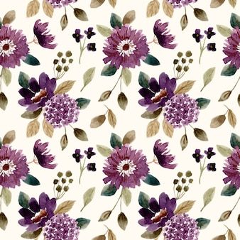 Dark purple flower watercolor seamless pattern