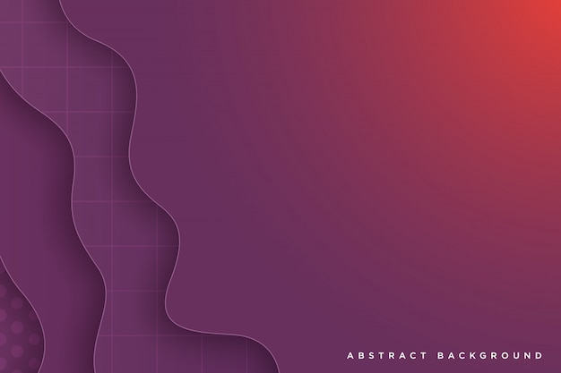 Dark purple paper art cartoon abstract waves vector