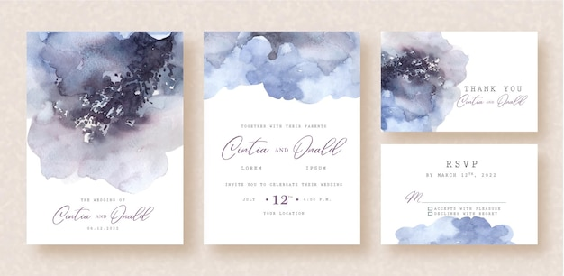 Dark purple splash watercolor on wedding invitation background