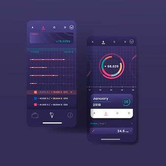 Темно-фиолетовый дизайн инфографики биржевой торговли