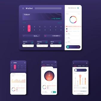 Dark purple stock trading infographic template design