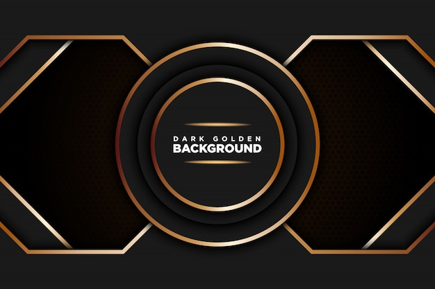 Dark realistic background with golden line with hexagon shape