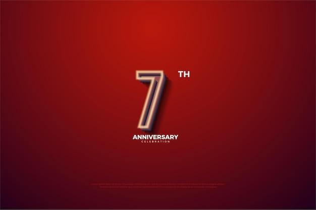 7 주년 기념 진한 빨간색 배경