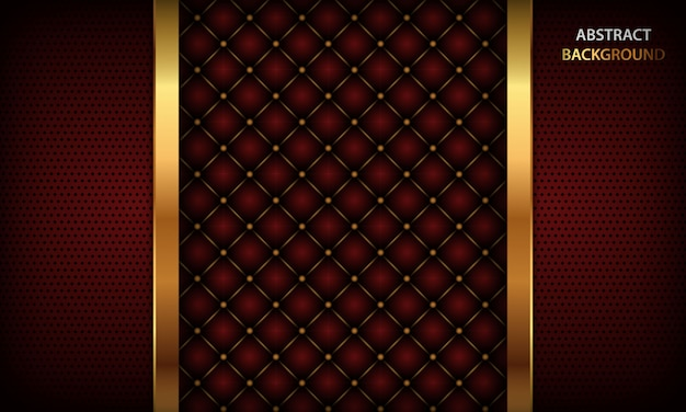 Dark red background with golden element and realistic buttoned leather