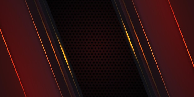 Dark red carbon fiber background with orange luminous lines and highlights
