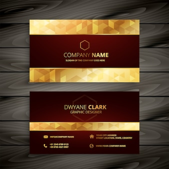 Dark red and gold business card