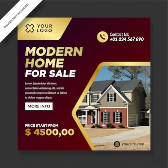 Dark red gold modern home for sale post
