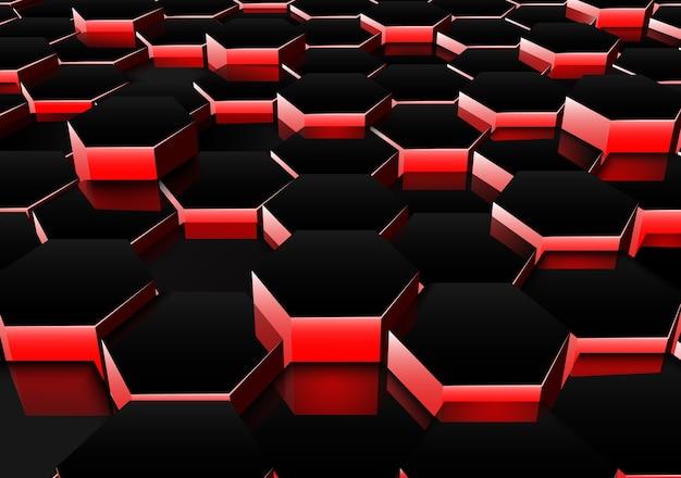 진한 빨간색 6 각형 배경