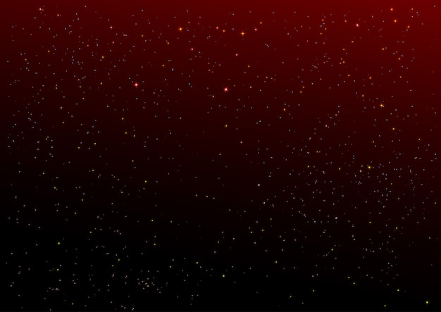 Темно-красное ночное небо и фон золотых звезд