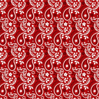 Dark red paisley bandana seamless pattern