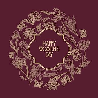 Темно-красная круглая рамка эскиз композиции поздравительная открытка с множеством предметов вокруг текста о женском дне, украшенная цветами