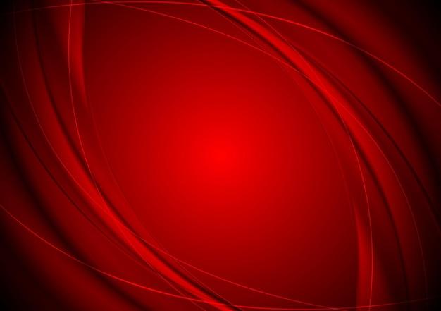 濃い赤の滑らかな波状の背景。ベクトルデザイン